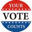 "Image: red, white and blue round button emblazoned with ""YOUR VOTE COUNTS"""